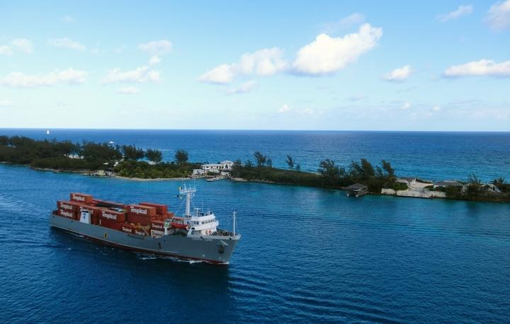 ドッグフードを輸送するコンテナ船の様子