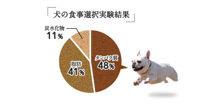 犬の食事選択実験結果の三大栄養素の割合グラフ