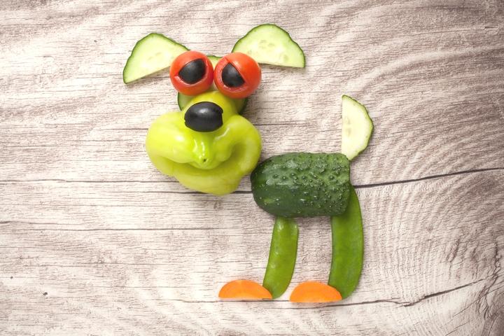 ビタミンAを多く含む野菜で作られた犬の様子
